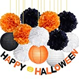 Halloween Party Decorations Kit-Happy Halloween Banner with Tissue Pom Poms Flowers Paper Lanterns Orange Black White Color Mix Decor Package for Halloween Decorations Home School Office Decorations