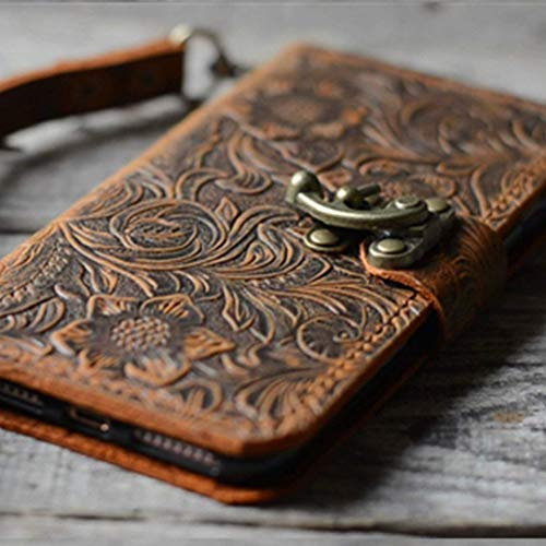(Handmade Book Leather Wallet Case for Samsung Galaxy note 8 retro style brown 001)