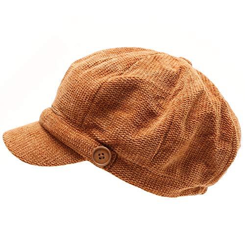 MIRMARU Women s Classic Visor Baker boy Cap Newsboy Cabbie Winter Cozy Hat  with Comfort Elastic Back bea1d867f61b