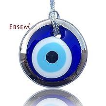 Silver Gilt Handmade Evil Eye Glass Charm Decorative Turkish - Greek - Jewish - Christian ornamenOrnament (2.7 inch)