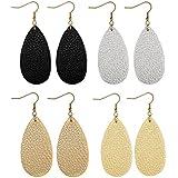 FIBO STEEL Teardrop Leather Earrings for Women Girls Dangle Drop Earrings 4 Pairs