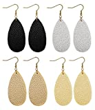 FIBO STEEL Teardrop Leather Earrings for Women Girls Dangle Drop Earrings 4 Pairs