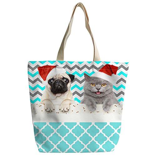 à Chevron chats Bleu bandoulière Blanc Violetpos sac personnalisé Sacs déjeuner cartable Sac Sac Shopping main de Canvas chiens pZ1wtqS