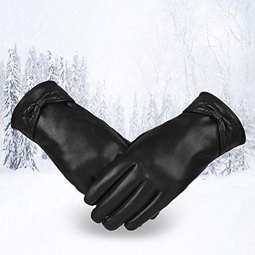 Vbiger Touchscreen Handschuhe Outdoor Handschuhe für Damen, Schwarz-2, S