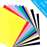 Heat Transfer Vinyl for T-Shirts, 12 Pack - 12''x 12'' 10-Color, Iron On HTV for Cricut and Silhouette Cameo(USCNC)