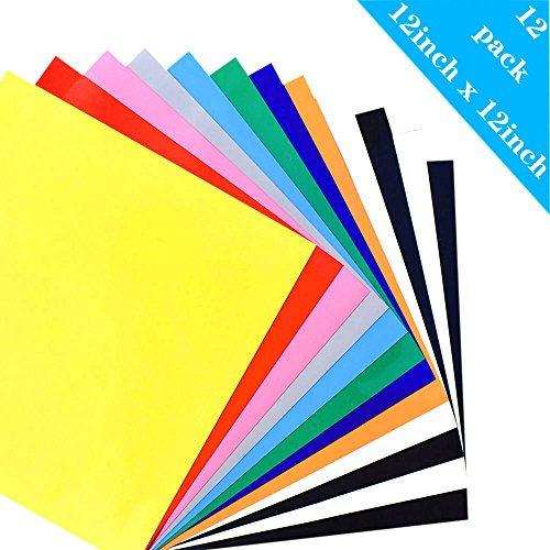 Heat Transfer Vinyl for T-Shirts, 12 Pack - 12''x 12'' 10-Color, Iron On HTV for Cricut and Silhouette Cameo(USCNC) by uscnc