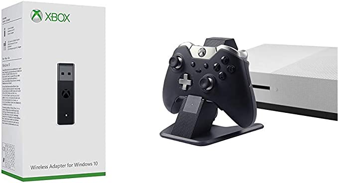 Microsoft - Adaptador Wireless (PC) + AmazonBasics - Soporte y cargador, de aluminio, para mandos de Xbox One, Xbox One S y Xbox One X, Negro: Amazon.es: Videojuegos