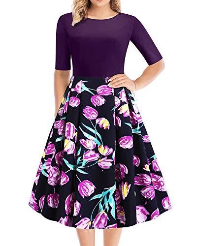 WERIDEDIRT Vintage Patchwork Pockets Puffy Swing Stretchy Floral Flare Half Sleeve Classic Scoop Neck Tea Church Work Casual Party Cocktail Dress for Women (Purple Rose, M)
