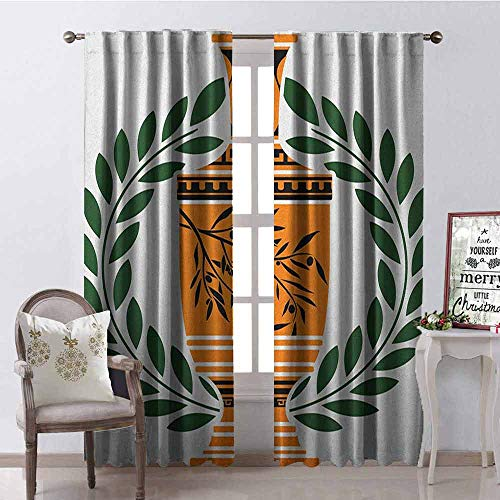 GloriaJohnson Toga Party Blackout Curtain Old Antique Greek Vase with Olive Branch Motif and Laurel Wreath 2 Panel Sets W52 x L63 Inch Hunter Green Orange Black