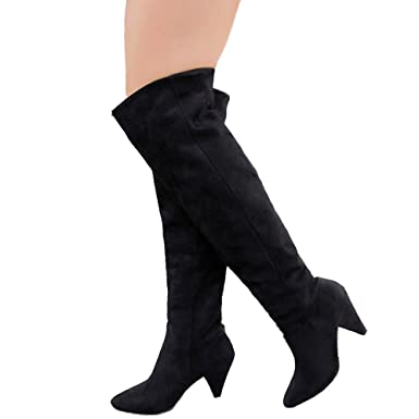 0d511be350b Amazon.com: Women Thigh High Boots Over The Knee Wide Calf Pointed ...
