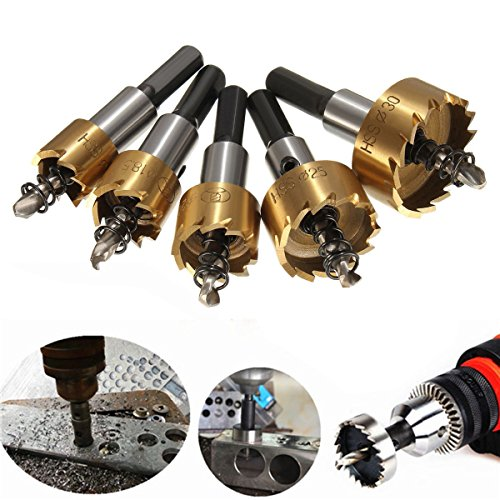 5PCs HSS Drill Bit Hole Saw Set Stainless Steel Metal Alloy 16-30mm - 3