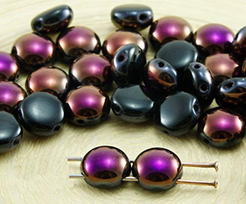 30pcs Black Opaque Brown Purple Flare Half PRECIOSA Candy Round Domed 2 Two Hole Coin Weaving Czech Glass Beads 8mm