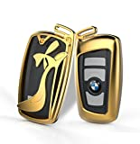 DAYJOY High heels Luxury Premium Aluminum Car Key Shell Cover With Key Chain For BMW keyless remote control Smart Key Fob Holder 1/2/3/4/5/6/M/X SERIES X3 X4 M2 M3 M4 M5 M6(GOLD)