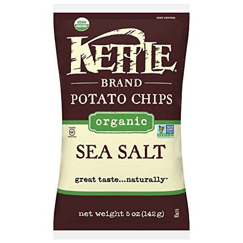 Kettle Brand Potato Chips, Organic Sea Salt, 5 Ounce Bags (Pack of -