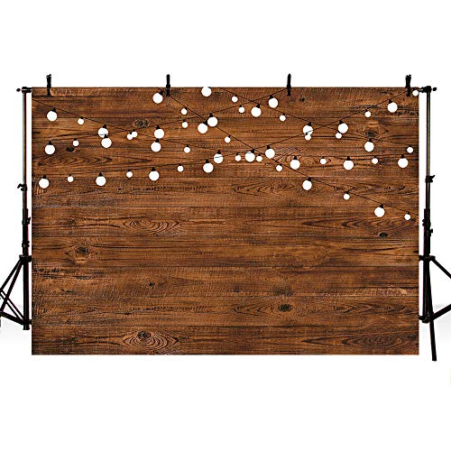 MEHOFOTO 8X6ft Rustic Wood Photography Backdrops Props Shining Bulbs Dark Wood Birthday Wedding Holiday Party Decoration Photo Studio Booth Background -