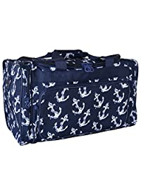 Evermoda Duffle Bag, Navy Blue Nautical Anchors Print (19 inch)
