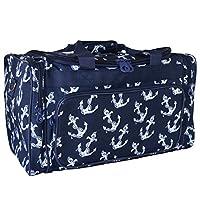 Ever Moda Navy Blue Nautical Anchors Duffle Bag 19-inch