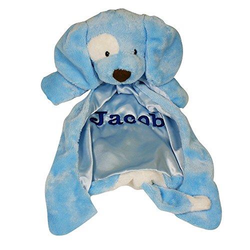 Personalized Blue Baby Huggybuddy Blankie, (Blue Spunky Puppy)