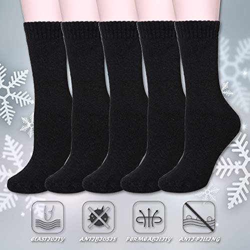 Color City Women's Super Thick Soft Knit Wool Warm Winter Crew Socks - 5 Pack