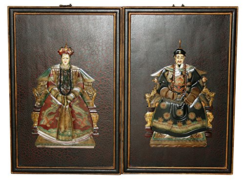 Wooden Emperor and Empress Wall Plaques Model P3156-R (Plaque Wall Chinese)