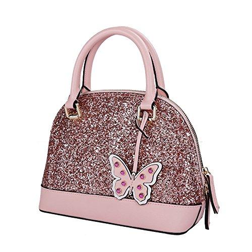 Bandoulière à Voyage des Sac Cuir Femmes Mignon Papillon en Main Paillettes WKNBEU Pink Sacs à Mode Shopping Diagonale wFxUZA6q