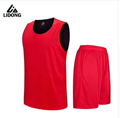 c8f720a7ccc6 Men Reversible Basketball Jersey Sets Uniform kit Sports clothes basketball  suits (Red
