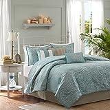 Madison Park Carmel 7 Piece Comforter Set, Queen, Blue