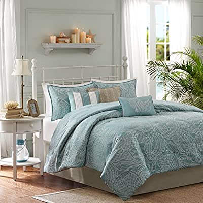 Madison Park Carmel Queen Size Bed Comforter Set Bed in A Bag - Teal, Jacquard Coastal Seashells – 7 Pieces Bedding Sets – Ultra Soft Microfiber Bedroom Comforters - Set includes: 1 comforter, 2 standard shams, 1 bed skirt, 3 decorative pillows Cover: 100percent polyester filling: 100percent polyester Measurements: 90-by-90-inch comforter, 20-by-26-inch standard shams, 60-by-80-inch bed skirt with a 15-inch drop, 18-by-18-inch square pillow, 12-by-18-inch Oblong pillow, 16-by-16-inch square pillow - comforter-sets, bedroom-sheets-comforters, bedroom - 51h6eDjCGJL. SS400  -