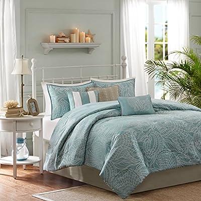 "Madison Park Comforter Scenic Design All Season Hypoallergenic Down Alternative Set, Matching Bed Skirt, Decorative Pillows, Queen(90""x90""), Carmel, Coastal Seashell Blue - Set includes: 1 comforter, 2 standard shams, 1 bed skirt, 3 decorative pillows Cover: 100percent polyester filling: 100percent polyester Measurements: 90-by-90-inch comforter, 20-by-26-inch standard shams, 60-by-80-inch bed skirt with a 15-inch drop, 18-by-18-inch square pillow, 12-by-18-inch Oblong pillow, 16-by-16-inch square pillow - comforter-sets, bedroom-sheets-comforters, bedroom - 51h6eDjCGJL. SS400  -"
