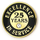 25 years of service pin - PinMart's Gold Plated Excellence in Service Enamel Lapel Pin w/ Rhinestone - 25 Years
