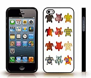 iStar Cases? iPhone 5/5S Case with Tortoise Pattern, Tortoise Shapes with Various Colors and Patterns on White , Snap-on Cover, Hard Carrying Case (Black)