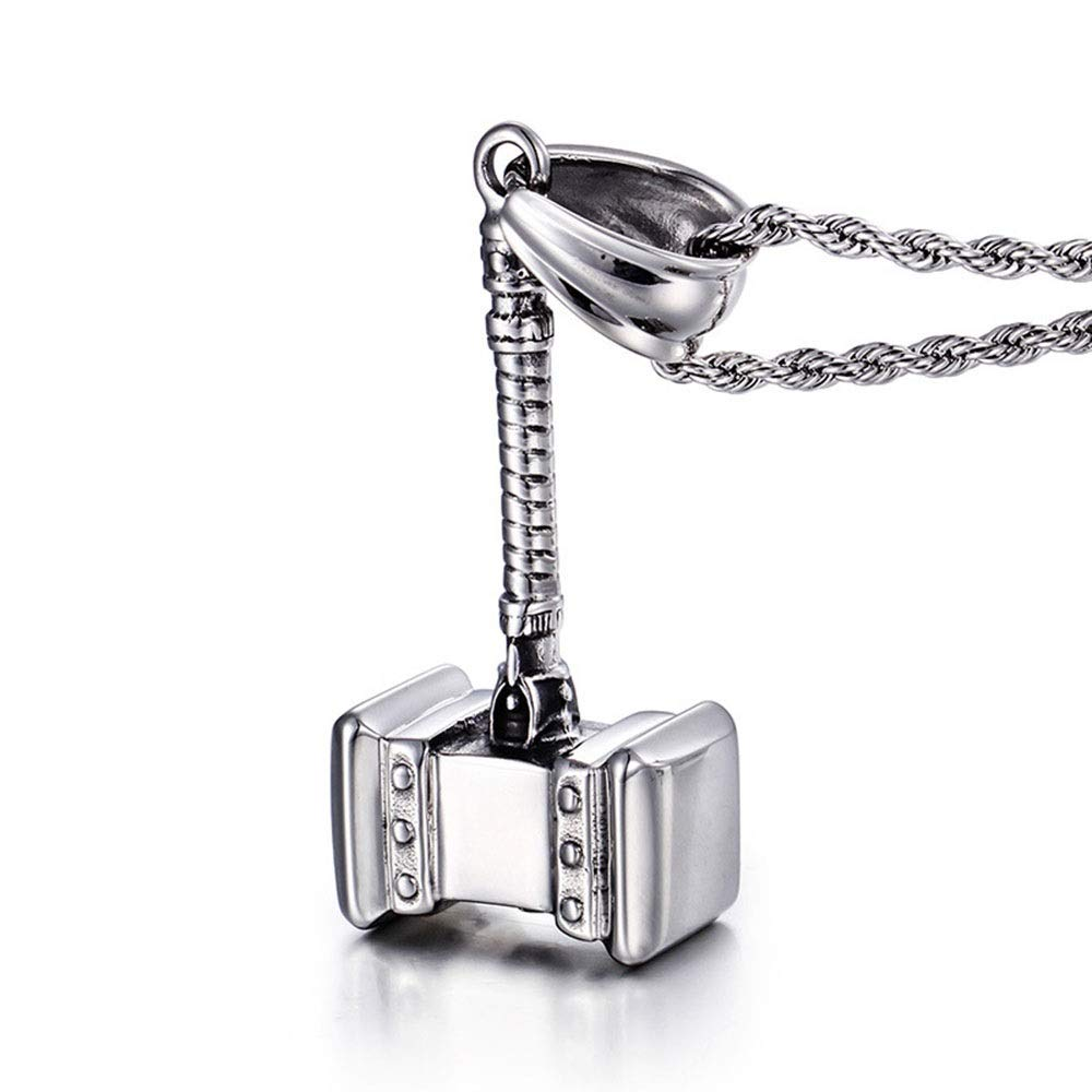 HANXIAODONG Mens Silver Gothic Quake Pendant Stainless Steel Pendant DIY Jewelry /Birthday Gift Color : Silver Black, Size : 5726mm