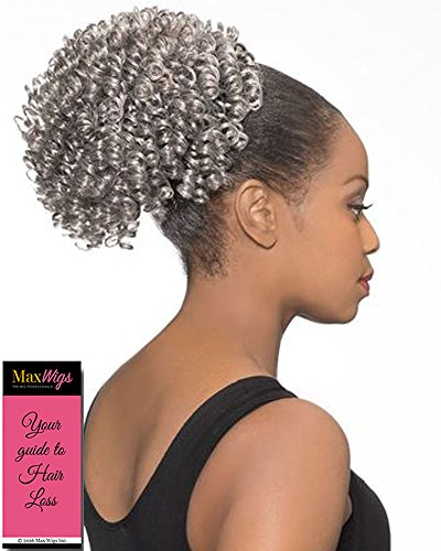 (DS008 Ponytail Color 280 - Foxy Silver Wigs Short Spiral Drawstring Hairpiece Clip On Synthetic African American Womens Bundle w/MaxWigs Hairloss Booklet)