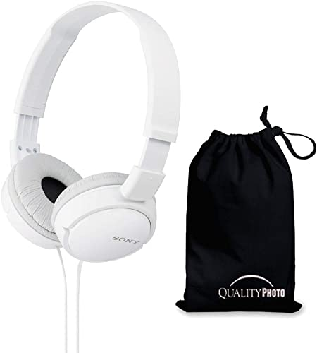 Sony MDRZX110 ZX Series Stereo Headphones White with Ultra Soft Travelers Pouch
