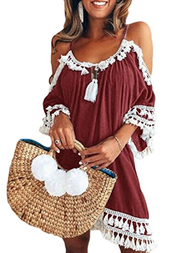 Tassel Cromoncent Dress Loose Red Short Top Womens Cold Chic Summer Shoulder Beach Wine q6XUFwx6