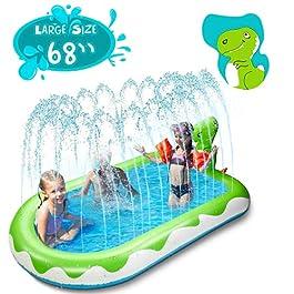 X TOYZ Inflatable Sprinkler Pool for Kids Large 68″, 3 in 1 Dinosaur Splash Water Playing Pad Kiddie Pool, Spray Pad Swimming Pool, Summer Water Toys for Outdoor Backyard (Large)