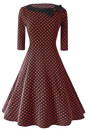 Manches Hepburn Swing Rtro anne 50 Cocktail Vintage Rockabilly soire Style Robe de 4 Bordeaux Courte Pois Audrey avec Babyonlinedress 3 67UfqYq