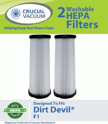 2 Dirt Devil F1 Washable & Reusable HEPA Filters; Compare With Dirt Devil Part # 3-JC0280-000, 2-JC0280-000 (3JC0280000, 2JC0280000). 2881210000, 2JC0360000 - Fits Breeze, Featherlite, Jaguar, Kinetix self Propelled, Scorpion, Ultra Swivel, Power Streak, P.F. Self Propelled / Commercial Plastic Upright Vacuum cleaners; Designed & Engineered by Crucial Vacuum