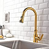 Brushed Gold Kitchen Faucet KunMai Single Handle Solid Brass Kitchen Faucet with Pull Out Sprayer Swivel Spout (Gold)