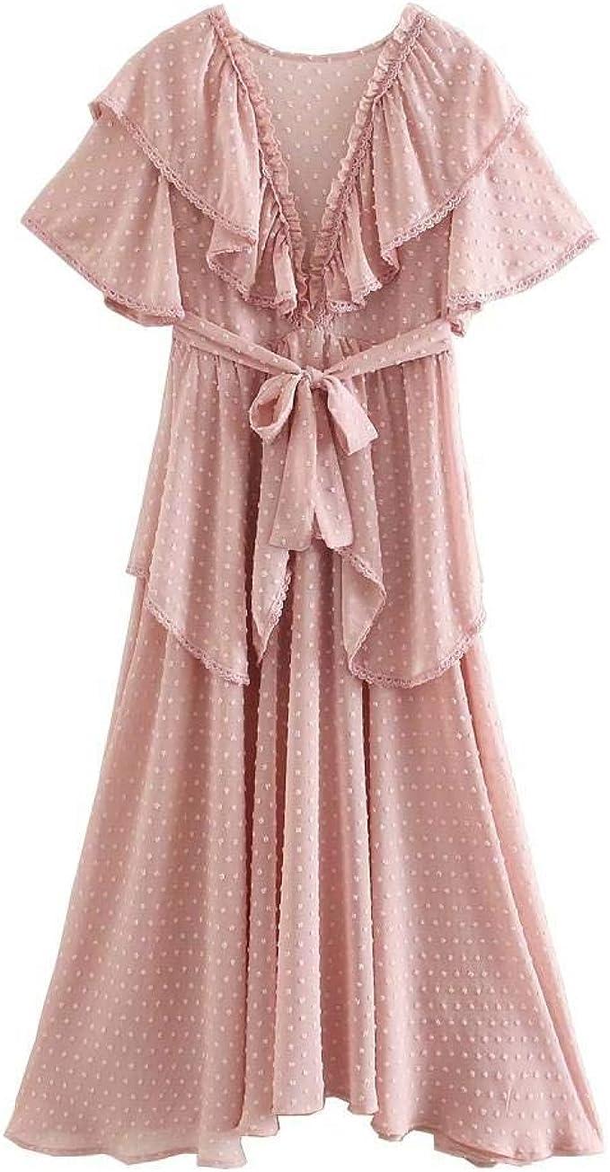QPXZ Damen Kleid Rüschen-Spitzenkleid Mit Rundhalsausschnitt