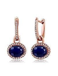 4.16 Ct Oval Purple Amethyst 18K Rose Gold Plated Silver Earrings