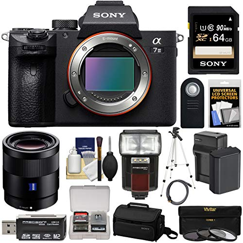 Sony Alpha A7 III 4K Digital Camera Body with FE 55mm f/1.8 Lens + 64GB Card + Battery & Charger + Case + 3 Filters + Flash & LED Light + Tripod + Kit ()