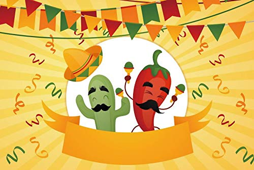 (Laeacco Cinco De Mayo Backdrop 7x5ft Vinyl Photography Background Sombrero Chili Pepper Dancing Flags Confetti Banner Party Festival Celebration Decoration)