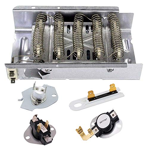 Siwdoy 279838 Dryer Heating Element, 3387134 Dryer Thermostat, 3977767 Dryer Thermostat, 3977393DryerThermalFuse and 3392519 DryerThermalFuse for Whirlpool Kenmore Dryer 3403585 W10724237 -