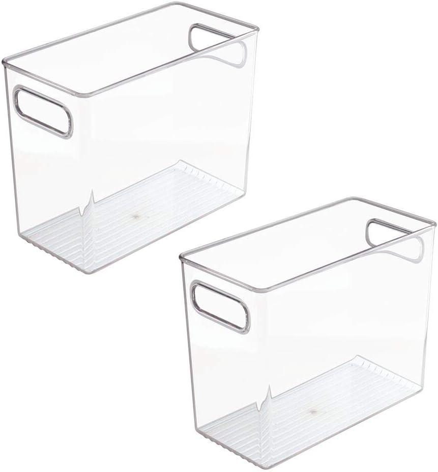 Pr/ácticos cajones para cocina de color transparente Cajas para almacenar alimentos y bebidas mDesign Juego de 2 organizadores de nevera y congelador