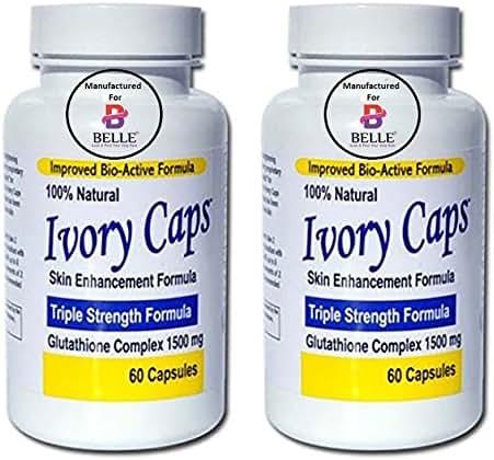 Ivory Caps Skin Whitening Lightening Skin Enhancement Max Glutathione Complex Brightening Capsules Pills (2 Bottle)