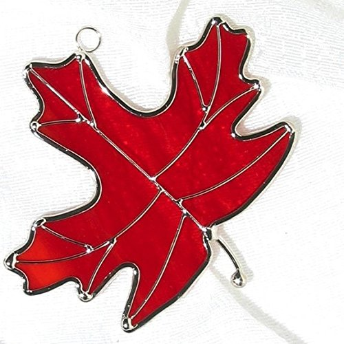 na Stained Glass Maple Leaf Suncatcher (Red)