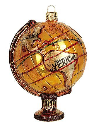 World Globe Map North America South America Asia Central America Africa Polish Glass Christmas Tree Ornament Souvenir