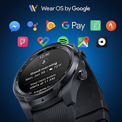 TicWatch Pro 4G LTE Cellular Smartwatch GPS NFC Wear OS by Google Android Health and Fitness Tracker with Calls Notifications Music Swim Sleep Tracking Heart Rate Monitor US Version 9