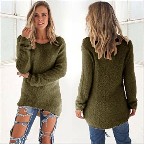 Green Sportiva donna Jumper Long Army Maglioni Koly Solidi Sleeve 6Rx61